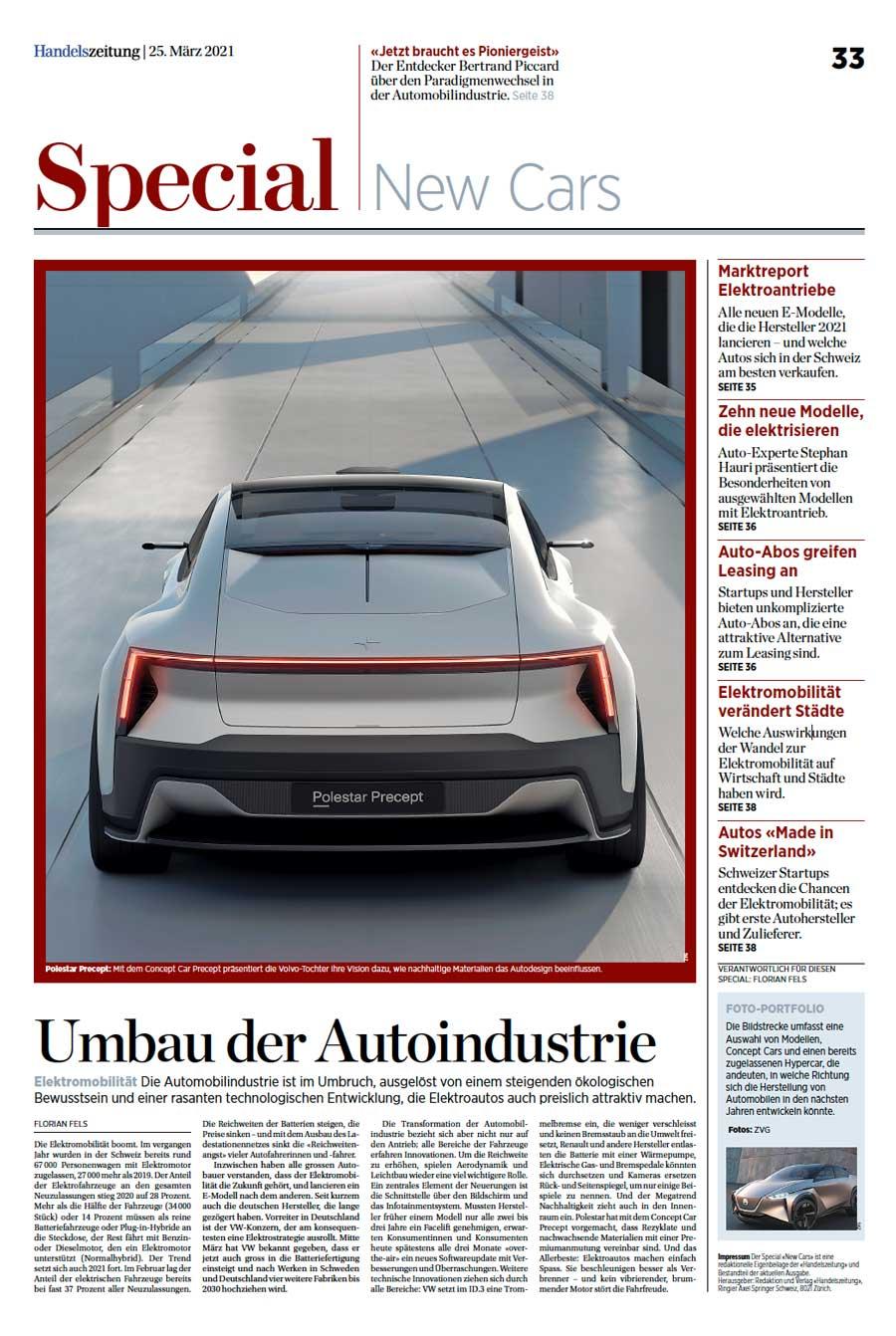 Sonderbeilage in der Handelszeitung – Special New Cars
